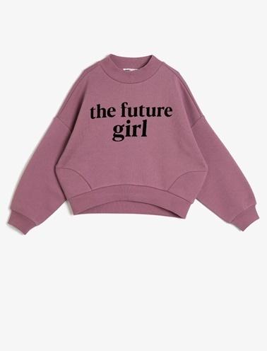Koton Kids Yazılı Baskılı Sweatshirt Pembe